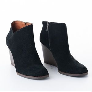 Lucky Brand Yakeena Zip Wedge Ankle Bootie Leather